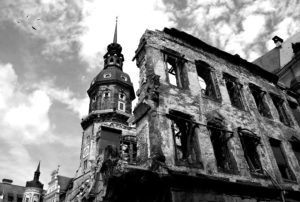 Building remains and ruins after World War II in Dresden, Germany.